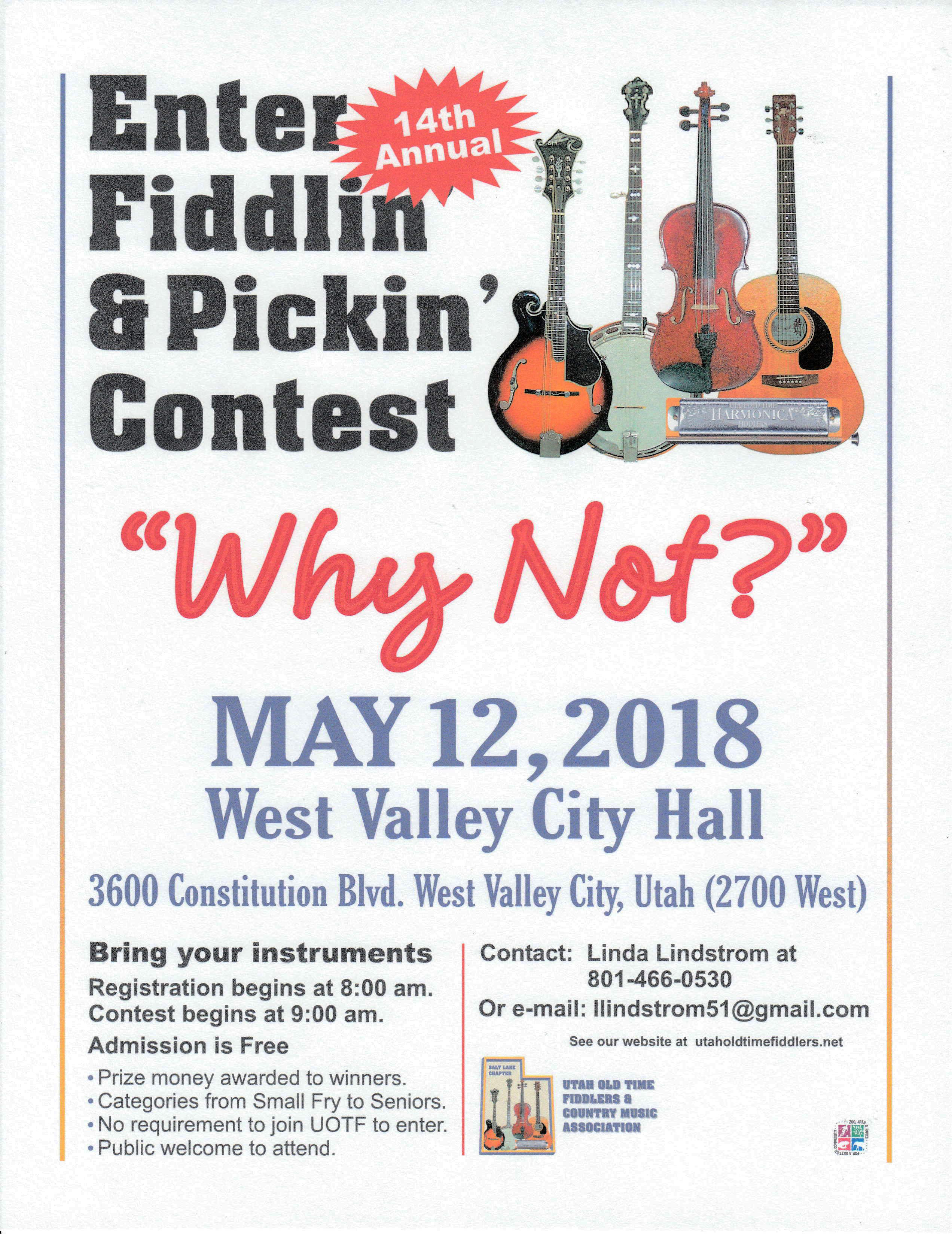 Salt Lake Fiddlin' & Pickin' Contest Poster