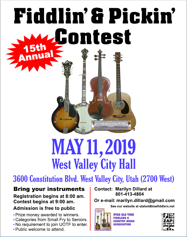 15th Annual Salt Lake 2019 Fiddlin' & Pickin' Contest @ West Valley City Hall | West Valley City | Utah | United States